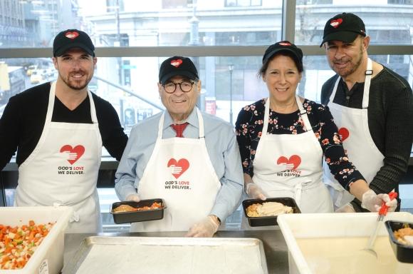 Terrence Meck, Congressman Jerry Nadler, Karen Pearl, John Varvatos volunteering at Thanksgiving