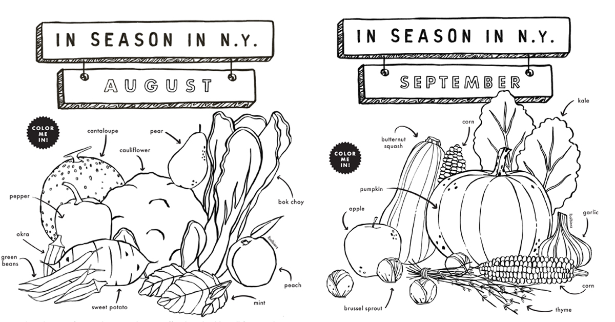 Coloring Sheets fruits and vegetables