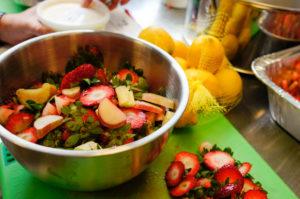 Photo of cut strawberries.